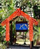 Eingang zum Dorf Neuseelands Aotearoa in der polynesischen kulturellen Mitte lizenzfreies stockfoto