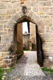 Eingang zum gotischen Schloss Stockbild