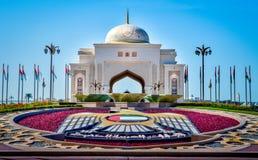 Eingang zum Präsidentenpalast in Abu Dhabi Stockfotos