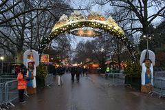 Eingangs-Weihnachtsmarkt Hyde Park London Lizenzfreie Stockfotografie