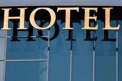 Eingangssignal zu einem Hotel Stockfotografie