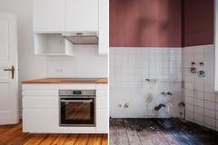 Eingebaute Küche vor und nach Wiederherstellung - Erneuerungskonzept stockfotografie