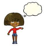 eingebildete Frau der Karikatur, die abweisende Geste mit Gedankenblase macht Stockbild