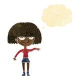 eingebildete Frau der Karikatur, die abweisende Geste mit Gedankenblase macht Stockfotos