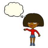 eingebildete Frau der Karikatur, die abweisende Geste mit Gedankenblase macht Lizenzfreies Stockbild