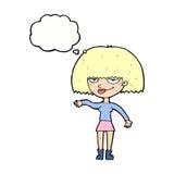 eingebildete Frau der Karikatur, die abweisende Geste mit Gedankenblase macht Lizenzfreie Stockfotografie