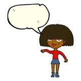 eingebildete Frau der Karikatur, die abweisende Geste mit Spracheblase macht Lizenzfreies Stockbild