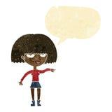 eingebildete Frau der Karikatur, die abweisende Geste mit Spracheblase macht Lizenzfreies Stockfoto