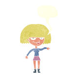 eingebildete Frau der Karikatur, die abweisende Geste mit Spracheblase macht Stockbild