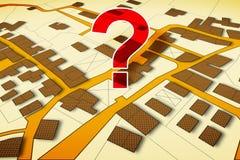 Eingebildete Katasterkarte des Gebiets mit Gebäuden, der Straßen und des Flurstücks - Konzeptbild mit einem Fragezeichen lizenzfreie abbildung