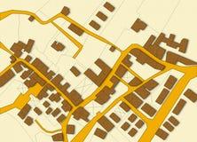 Eingebildete Katasterkarte des Gebiets mit Geb?uden und Stra?en lizenzfreie abbildung
