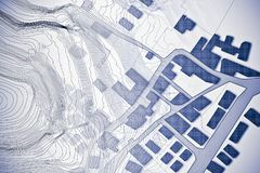 Eingebildete Katasterkarte des Gebiets mit Reliefkarte - Konzept I vektor abbildung