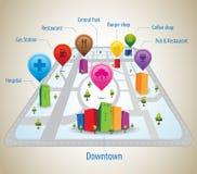 Eingebildete Stadt mit GPS-Ikonen und -stift Lizenzfreie Stockbilder