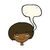 eingebildeter schauender Junge der Karikatur mit Spracheblase Stockbild