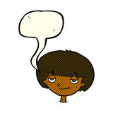 eingebildeter schauender Junge der Karikatur mit Spracheblase Stockfotos