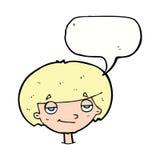 eingebildeter schauender Junge der Karikatur mit Spracheblase Stockbilder