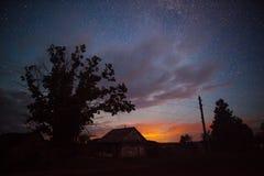 Eingebildeter Sonnenuntergang nachts Stockbild