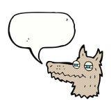 eingebildetes Wolfgesicht der Karikatur mit Spracheblase Stockfotografie