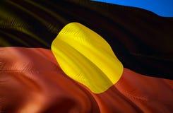 Eingeborene Australien-Flagge wellenartig bewegendes Design der Flagge 3D Das nationale Sonderzeichen von eingeborenem Australien stockbilder