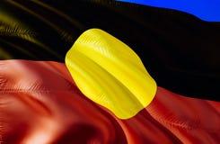 Eingeborene Australien-Flagge wellenartig bewegendes Design der Flagge 3D Das nationale Sonderzeichen von eingeborenem Australien lizenzfreie stockfotografie