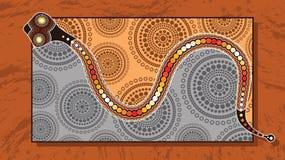 Eingeborene Kunstvektormalerei mit Schlange stock abbildung