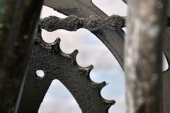 Eingefettetes Fahrradbugfahrwerk im Abschluss herauf Fläche lizenzfreie stockfotografie