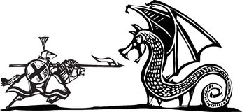 Eingehangener Ritter und Drache Stockfoto
