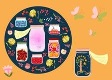 Eingemachte Zeit Allegorische Vektorillustration Sommernacht- und Sommergerüche wie eingemacht in Glasgefäße Stockfoto