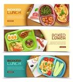 Eingepackte Mittagessen-horizontale Fahnen stock abbildung