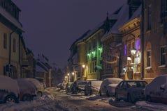 Eingeschneite Straße Stockbild