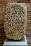 Eingeschriebener Stein an der römischen hauptsächlichhalle, Roman Museum, Museo Nacional De Arte Romano Merida, Spanien stockfotos