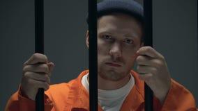 Eingesperrte männliche haltene Stangen und Schauen zur Kamera, fühlend schuldig und hoffnungslos stock video