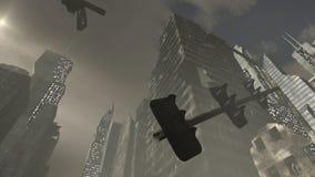 Eingestürzte Gebäude in einer apokalyptischen Stadt Stockfotografie