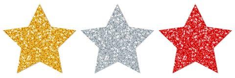 Eingestellt drei vom geraden funkelnden Stern-Gold versilbern Sie Rotes lizenzfreie abbildung