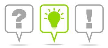 Eingestellt drei von der Sprache-Blasen-Fragen-Ideen-Antwort Grey And Green Outline vektor abbildung