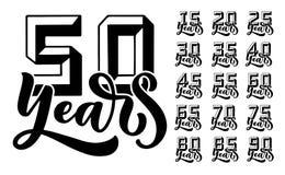 Eingestellt mit Beschriftung und Zahlen 3D für Parteieinladung 50 Jahre Jahrestagsfeier Vektor-Konzept des Entwurfes glückliches  vektor abbildung