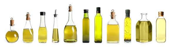 Eingestellt mit Flaschen Öl lizenzfreie stockfotografie