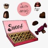 Eingestellt mit Schokoladen für Valentinstag lizenzfreie abbildung