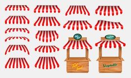 Eingestellt vom Beeindrucken mit hölzernem Marktstandstall und verschiedenem Kiosk, wenn die rote und weiße gestreifte Markise lo vektor abbildung