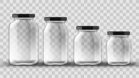 Eingestellt von den Glasgefäßen für das Einmachen und den Erhalt auf transparentem Hintergrund stockbilder