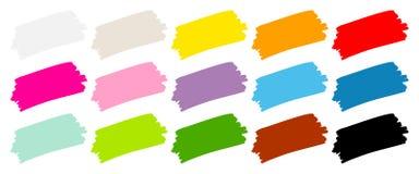 Eingestellt von der fünfzehn Pinselstrich-Farbe lizenzfreie abbildung