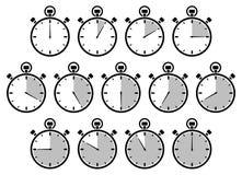 Eingestellt von dreizehn Grafik-Stoppuhren Gray Different Times stock abbildung