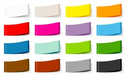Eingestellt von fünfzehn Textilaufkleber-Farbnähender Mischung stock abbildung