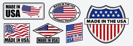Eingestellt von gemacht in USA beschriften Sie für Kleinprodukt- oder Gewebeeinzelteile stock abbildung
