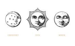 Eingestellt von Sun, vom Mond und vom Halbmond, Hand gezeichnet, wenn Art graviert wird Retro- Illustrationen der Vektorgraphik stock abbildung