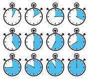 Eingestellt von zwölf Grafik-Stoppuhr-blauen verschiedenen Mal lizenzfreie abbildung