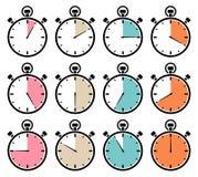 Eingestellt von zwölf grafische Stoppuhr-Ikonen-Retro- Farben lizenzfreie abbildung