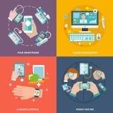 Eingestellte Ebene Digital-Gesundheit Ikonen Lizenzfreies Stockfoto