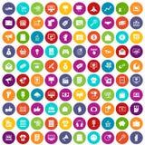 100 eingestellte Farbe des Internet-Marketings Ikonen Lizenzfreie Stockfotos