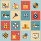 Eingestellte flache Linie der Sicherheit Ikonen Lizenzfreie Stockfotos
